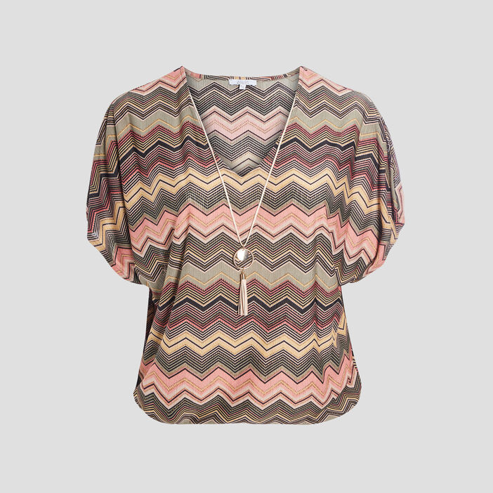 T-shirt manches courtes femme grande taille multicolore