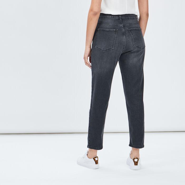 Jeans mom taille haute femme denim snow noir