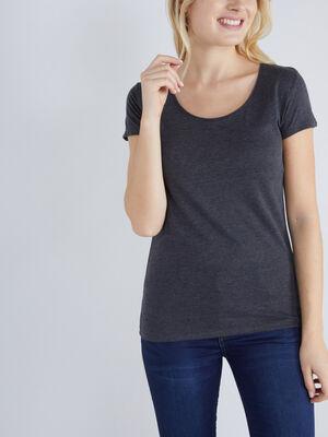 T shirt chine coton majoritaire gris fonce femme