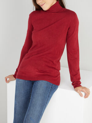 Pull col roule toucher cachemire prune femme