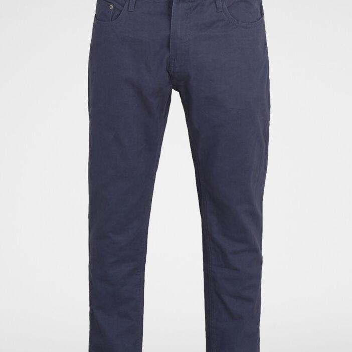 Pantalon droit coton uni homme bleu marine