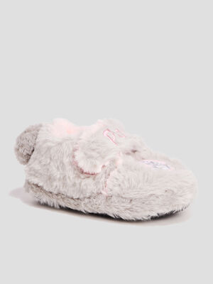Chaussons fausse fourrure gris fille