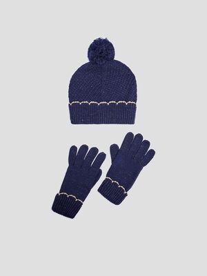 Lot bonnet et gants bleu marine fille