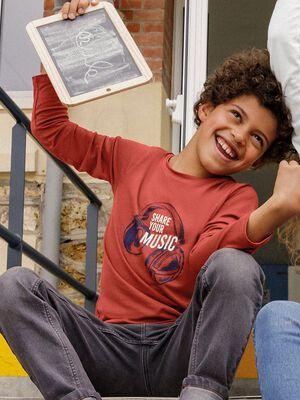 T shirt manches longues orange garcon