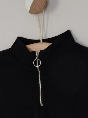 Robe droite col montant zippe noir fille
