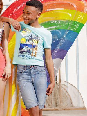 T shirt manches courtes Creeks bleu turquoise garcon