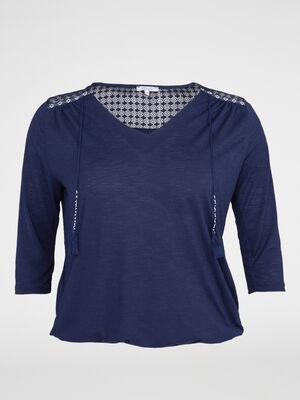 T shirt blousant dentelle et pompons bleu marine femme