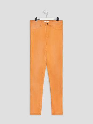 Pantalon skinny taille haute jaune moutarde fille