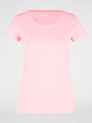 T shirt uni a col rond rose femme