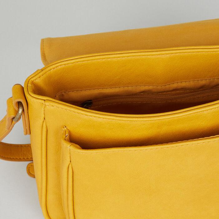 Sac bandoulière avec boucles métalliques femme jaune moutarde