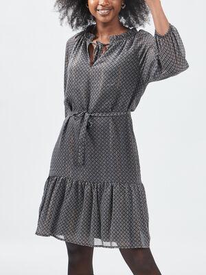 Robe evasee ceinturee gris femme