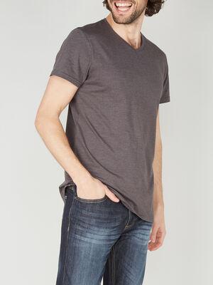 T shirt col V en coton gris fonce homme