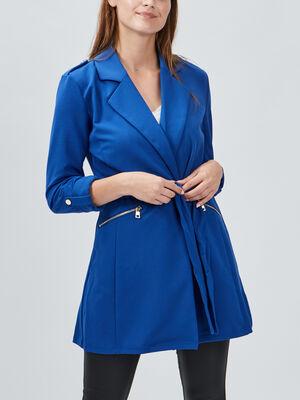Veste droite fluide ceinturee bleu femme