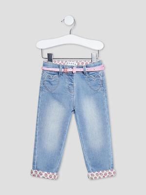 Jeans droit ceinture Creeks denim double stone bebef