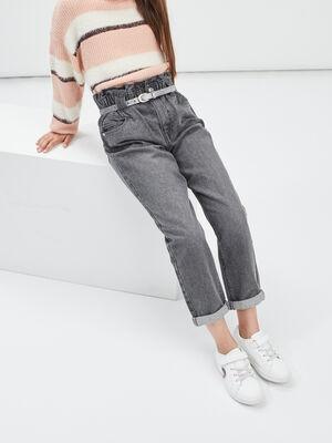 Jeans slouchy taille ajustable ceinture denim gris fille