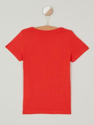 T shirt uni en coton rouge fille