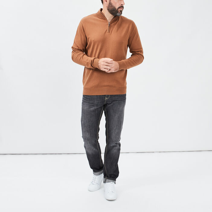 Pull manches longues homme camel