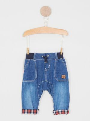 Sarouel en jean taille elastiquee denim double stone garcon