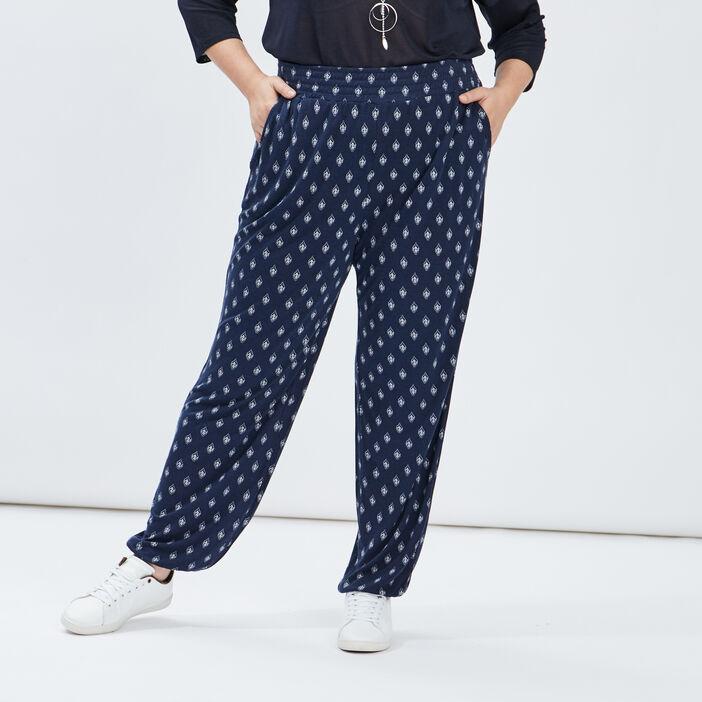 Pantalon sarouel fluide femme grande taille bleu marine