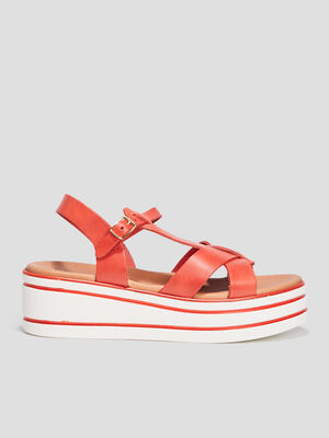 Sandales compensees en cuir rouge fille