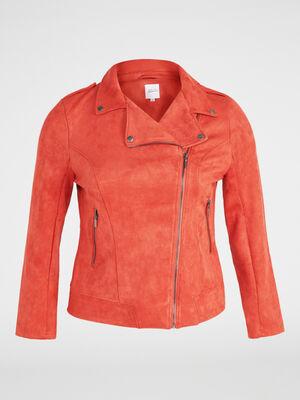 Veste stretch esprit motard orange fonce femme