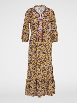 Robe longue volantee imprime fleuri camel femme