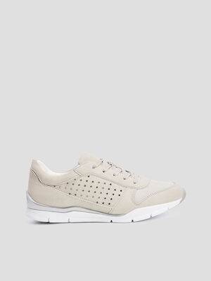 Baskets perforees beige femme