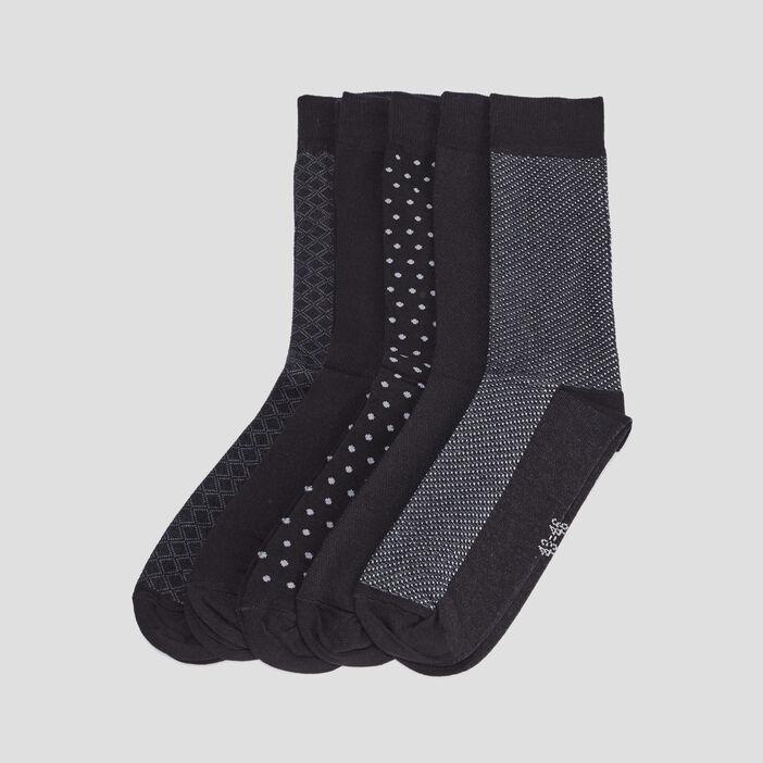 Lot 5 paires chaussettes homme noir