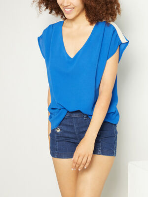 T shirt col V uni bleu roi femme
