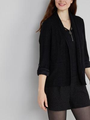 Veste legerement pailletee noir femme