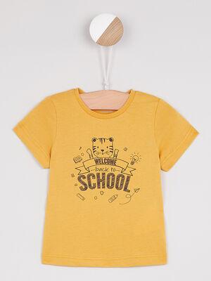T shirt col rond message devant jaune garcon