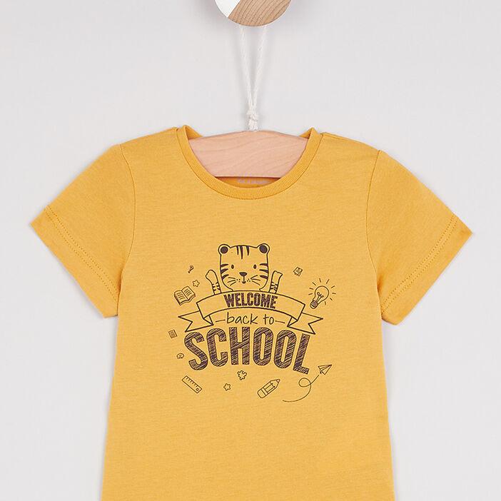 T-shirt col rond message devant garçon jaune