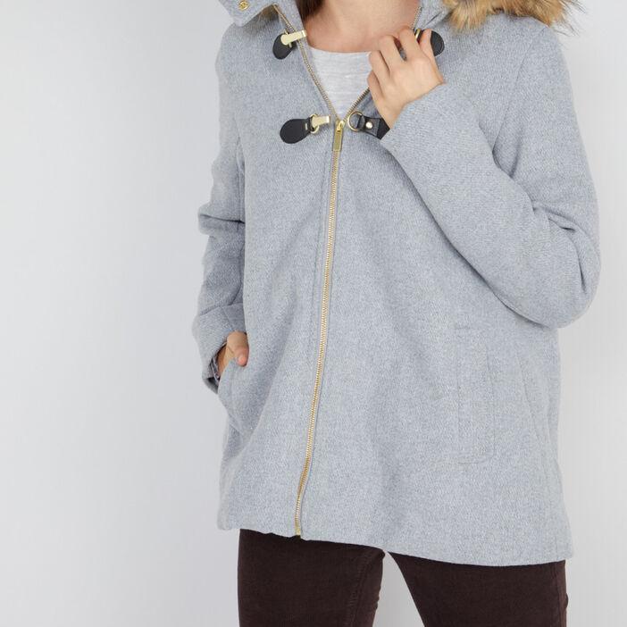 Manteau zippé évasé avec capuche femme gris