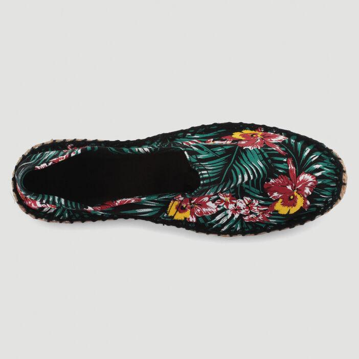 Espadrilles en toile imprimé tropical femme noir