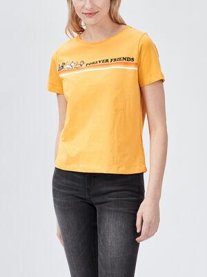 T shirt Les Aristochats jaune moutarde femme