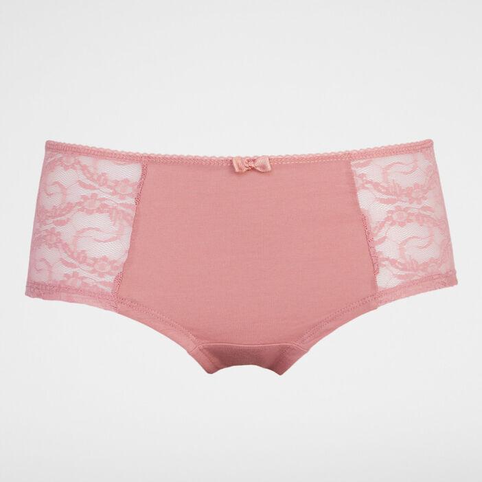 Boxer coton et dentelle femme rose clair