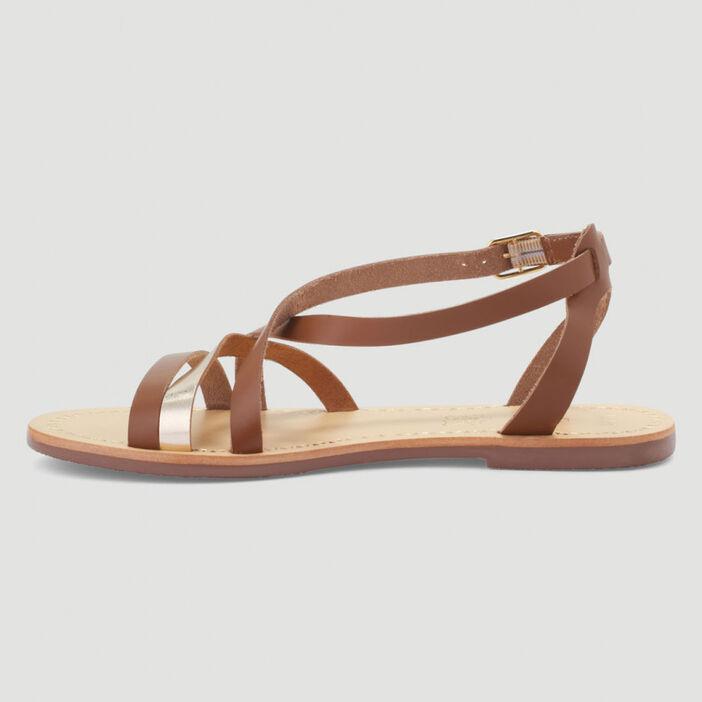 Sandales cuir talon plat femme marron