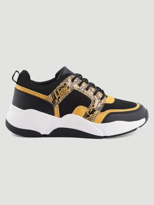 Papa shoes empiecement python noir femme