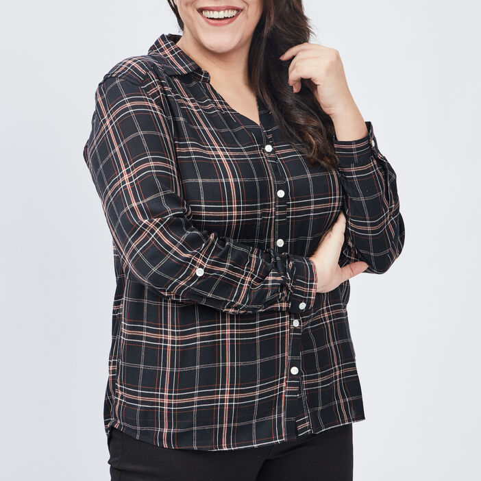 Chemise grande taille femme grande taille noir