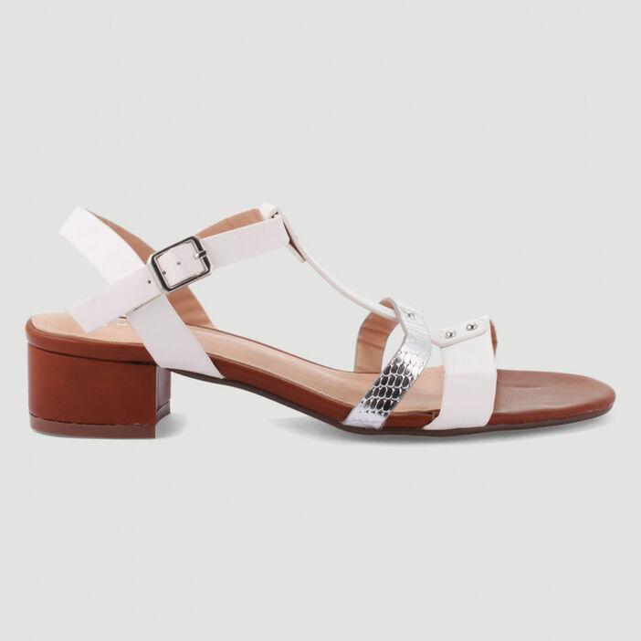 Sandales à brides et rivets femme blanc