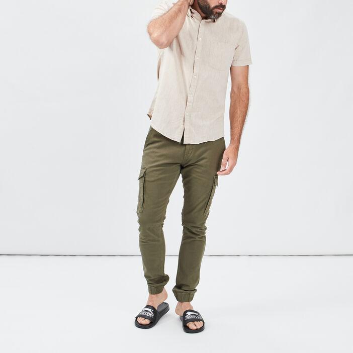Chemise manches courtes homme marron clair