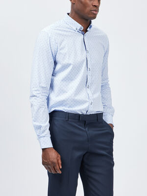 Chemise manches longues bleu homme