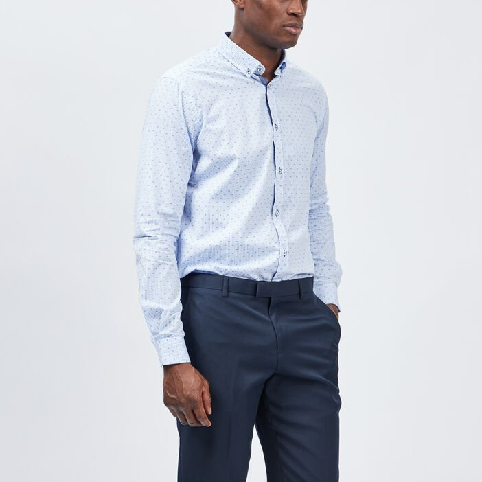 Chemise manches longues homme bleu