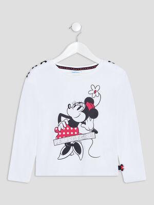 T shirt manches longues Minnie blanc fille