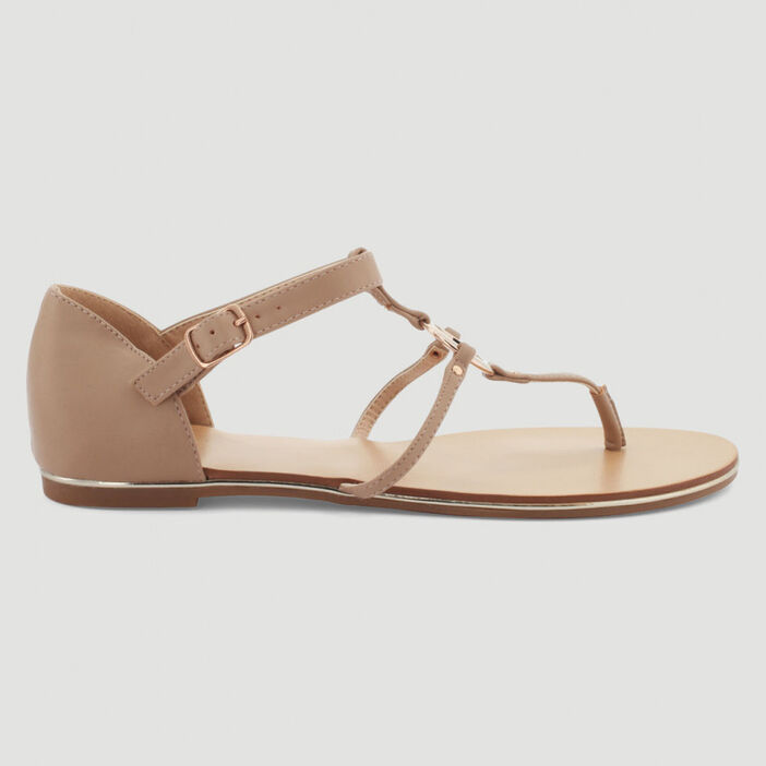 Sandales fines anneau et entredoigt femme beige