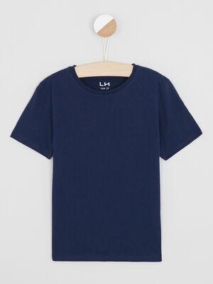 T shirt chine a manches courtes bleu marine garcon