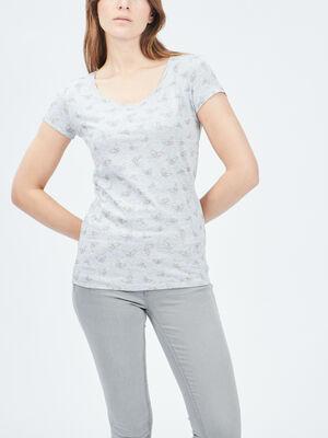 T shirt manches courtes gris femme
