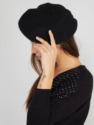 Beret uni en laine noir mixte