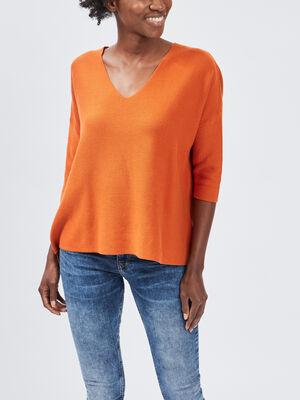 Pull manches 34 orange femme