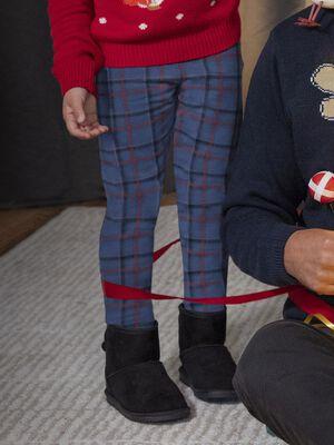 Pantalon droit elastique bleu marine fille